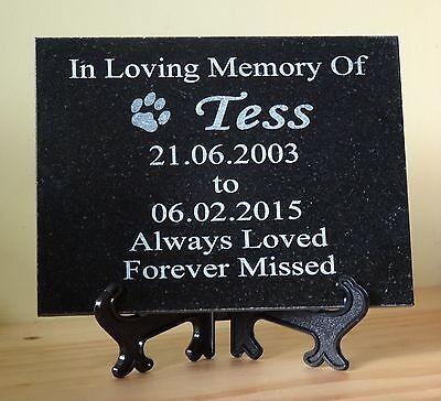 Personalised Pet Dog or Cat Natural Granite Memorial Plaque Grave Marker 2
