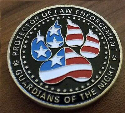 K9 CHALLENGE COIN Thin Blue Line law enforcement guardians of the night
