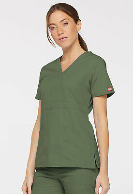 Scrubs Dickies EDS Signature Mock Wrap Top 85954A Olive FREE SHIPPING