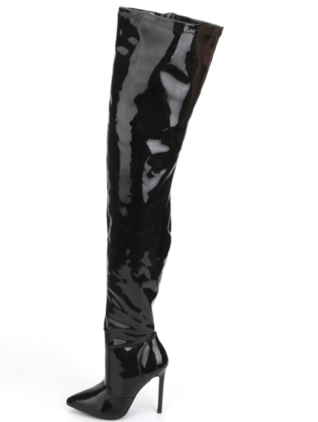 "Extreme thigh high heel stiletto fetish patent 12cm 4.5"" boots UK3-13 4"