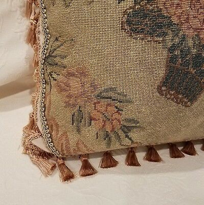 Custom Made Antique Floral Needlepoint Pillow Sage Green Peach Salmon