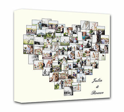 Personalised Heart Shape Collage Canvas Photo Canvas Print