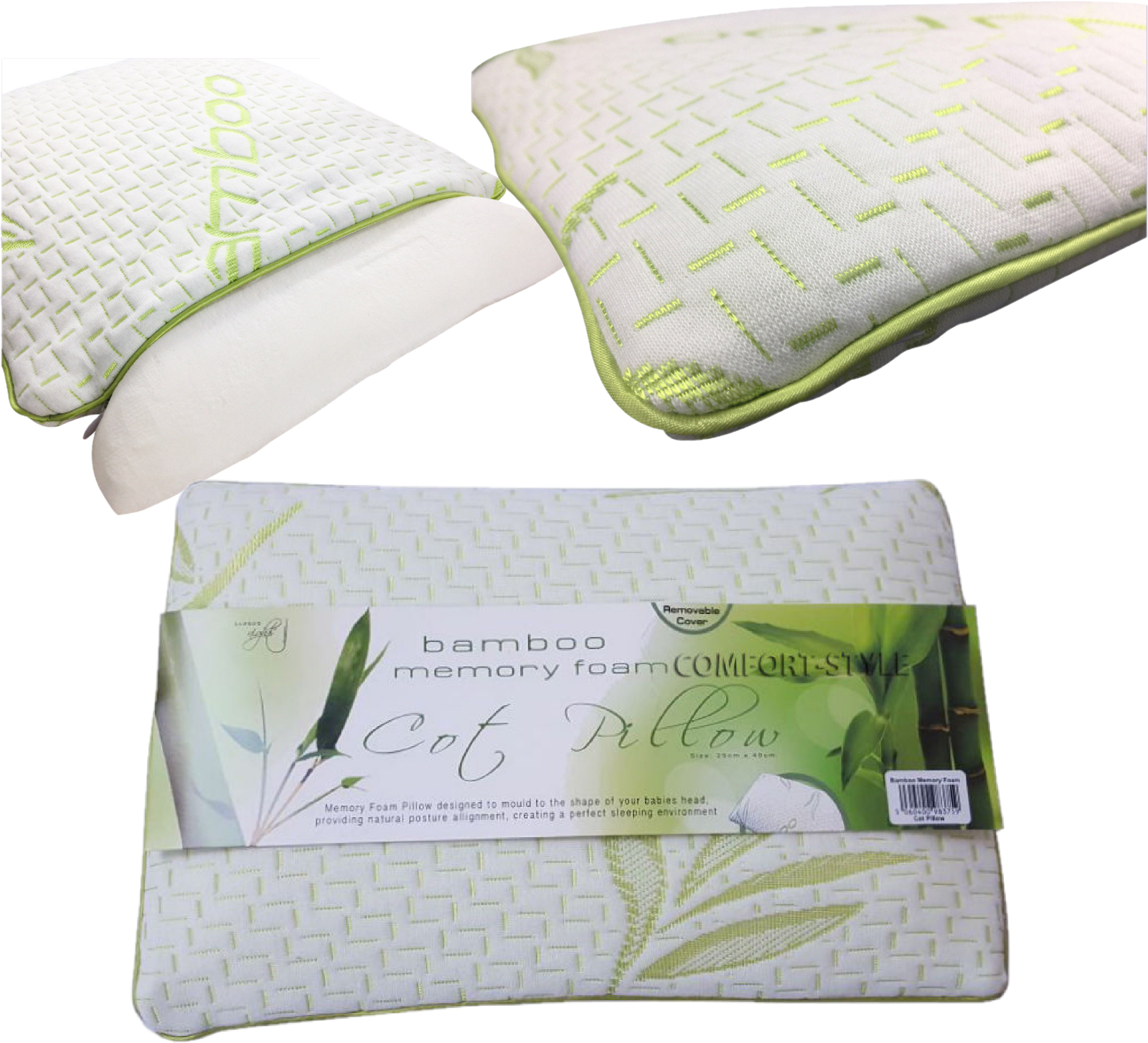 Bamboo Standard Memory Foam Cot Pillow Bed Baby Soft Toddler Sleeping Kid Pack 2 5