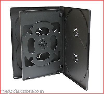10 Pk Premium Black 14mm 6 Discs DVD CD Movie Game Case Box Overlap with Flip