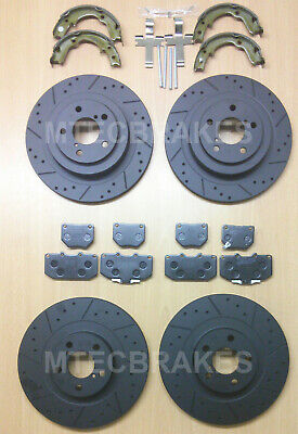 Groove Front Brake Discs Pads Compatible with Subaru Imp 2.5 WRX 2.5 WRX-S 07-11
