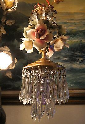 Porcelain ROSE pink Chandelier SWAG lamp Capodimonte Brass Vintage crystal 2