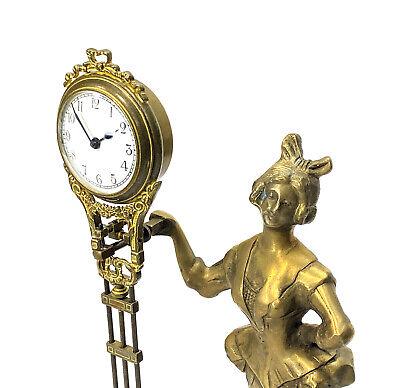 German Style Junghans Brass Barmaid Figure 8 Day Swinging Swinger Clock 5