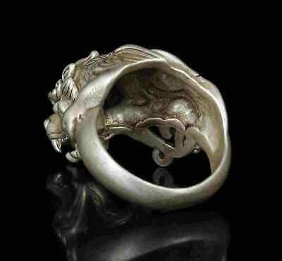 Collect Rarity China Hand-Carved Precious Tibetan Silver Ring PI Xiu Statue 4