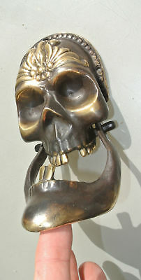 "SKULL head and JAW heavy front Door Knocker SOLID BRASS day of the dead 8"" B 2"