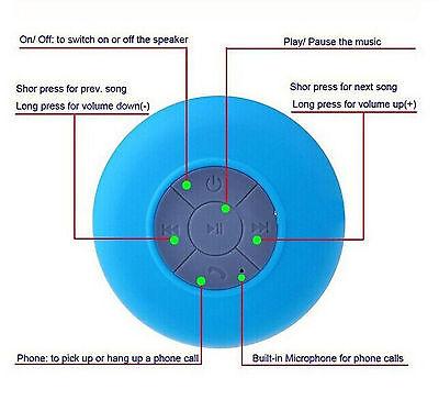BTS-06 Water Resistant Shower Bluetooth Speaker Wireless USB Power Charger