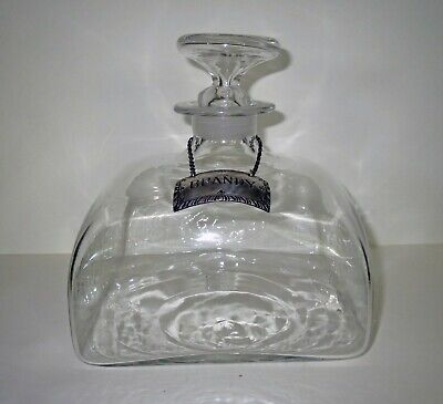 Antique Lamp Work GLASS DECANTER Bottle STIEFF STERLING SILVER BRANDY MARKER Tag 7