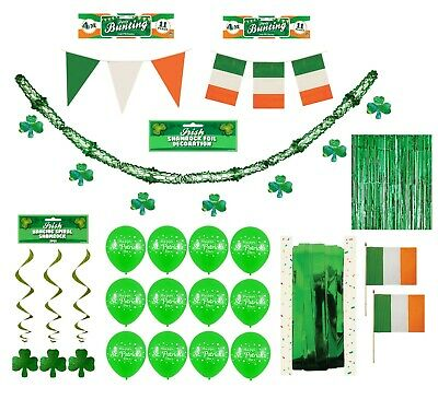 ST PATRICKS DAY HANGING DECORATIONS Irish Party Shamrock Foil Ceiling Decor UK 2