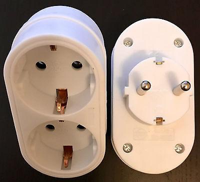 Schuko Doppel Steckdose Adapter Schukostecker Euro Verteiler Kupplung ESA TT