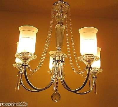 Vintage Lighting all original 1940s crystal chandelier 2
