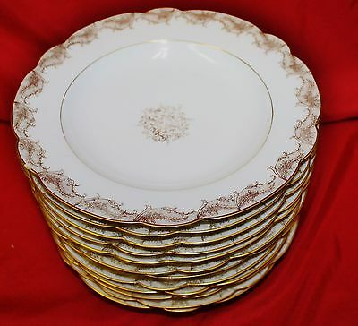 12 Antique 19thC Hand Decorated LS & S Limoges French Rimmed Soup Bowls 2
