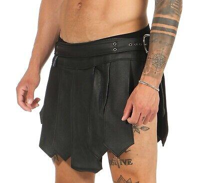 XS-XXXL*Gladiator Kilt Skirt Legionär Rock Schwarz NEU Gürtel Schnallen Larp NEU 2