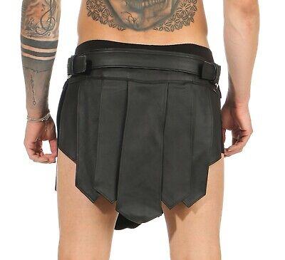 XS-XXXL*Gladiator Kilt Skirt Legionär Rock Schwarz NEU Gürtel Schnallen Larp NEU 3