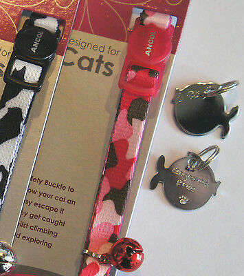 Ancol Nylon Camouflage Cat Collar With Hand Engraved Chrome Fish Id Tag Free P&p 2