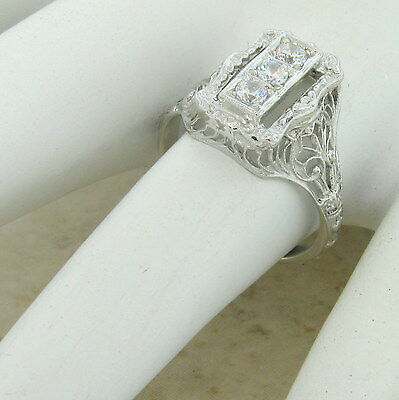 Art Deco Antique Style 925 Sterling Silver Cz Ring,                         #699 4
