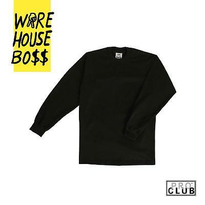 3 Pack Proclub Pro Club Men's Heavyweight Long Sleeve T-Shirts Plain Cotton Tee 11