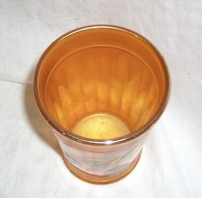 Antique Marigold Carnival Glass Northwood Pretty Panels Decorated Water Tumbler 3