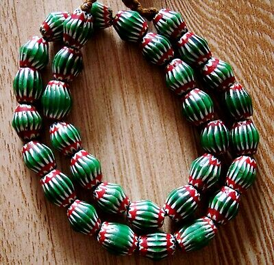 "20"" 32 Bead Antique Phoenician Green, White,Red Six Layer Chevron Glass Necklace 4"