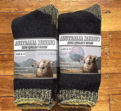 3 Pairs 6-11 Heavy Duty Australian Merino Extra Thick Wool Socks Black/Yellow 4