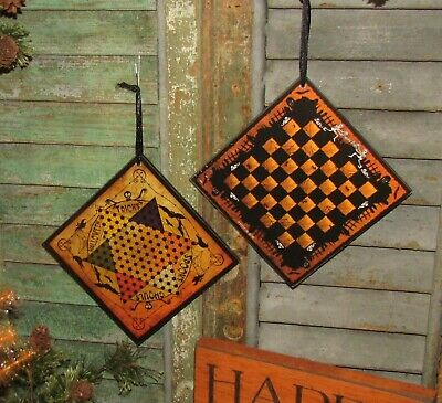 Prim Antique Vtg Style Spooks Ghouls Halloween Chines Checkers Game Board Sign 6