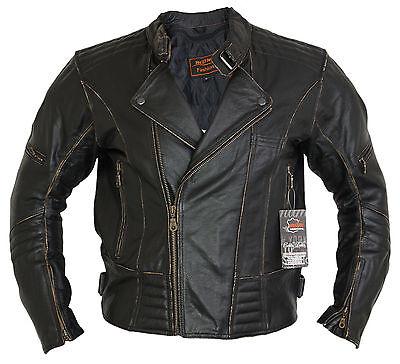 Herren Motorrad Lederjacke Biker Retro Rocker Chopper Motorrad Antik Jacke 2
