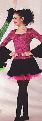 NWOT Irish Celtic Dress Wired cuff ruffle hem Hot Pink Black Lace Print Adlt//Ch