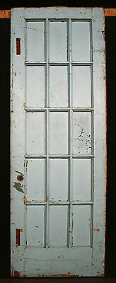"30""x95""x1.75"" Antique Vintage French Wood Wooden Door Window Beveled Glass Lites"