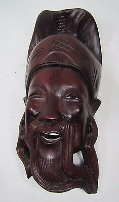 Old Carved Asian Dark Wood Hat Man Exquisite Detailing Eyes Teeth 10A 12