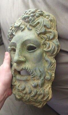 Green aged Roman Greek God Face Theater Mask Decor Zeus Dionysus Bacchus Apollo