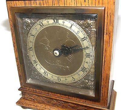 Oak with Blind Fretwork Bracket Mantel Clock by ELLIOTT LONDON 4
