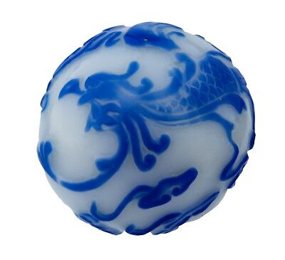 An Antique Chinese Phoenix Decorated Large Peking Glass Bead 2