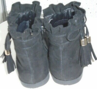 Young Girls River Island Boots Uk 7 Eur 23 Black Suede Tassles Bows Zips 5