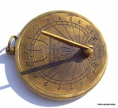 Lot Of 10Pc Vintage Sundial Clock Keychain Antique Brass Maritime Key-Ring Gift 12