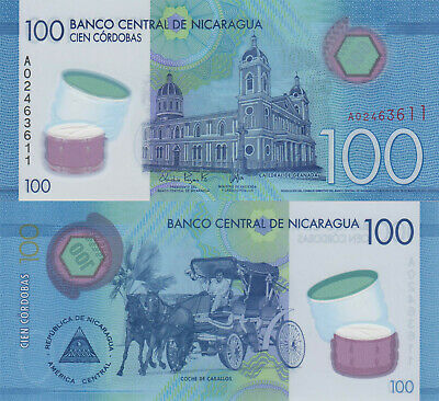 p209-p214 UNC 10 to 500 Cordobas and Commemorative 1000 Nicaragua 7 Note Set