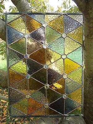"Stained Glass  Autumn Suncatcher Transom Window Panel   17 ""x 13"""