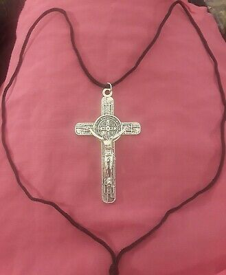"LRG 3 1/8"" Sterling Silver Filled Modern St Benedict Crucifix Cross New Pendant 7"