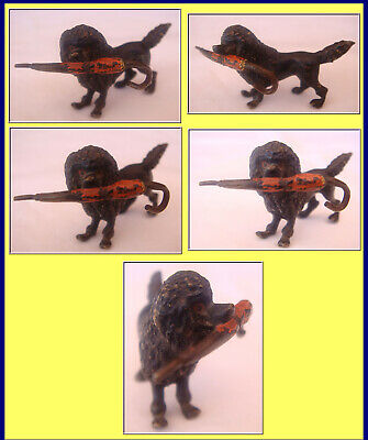 Antigüedad Vienna Bronce Frío Pintado Miniature Caniche Perro W Paraguas (2664) 2