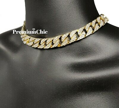 """ICED Miami Cuban Choker Chain Necklace Hip Hop Mens Gold Silver 14mm 16"""" - 30"""" 5"""