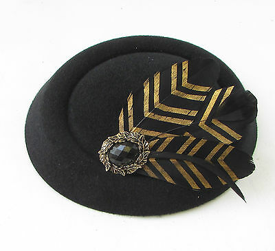 Black Gold Feather Pillbox Hat Fascinator Vintage Races Headpiece 1940s 20s 412 7