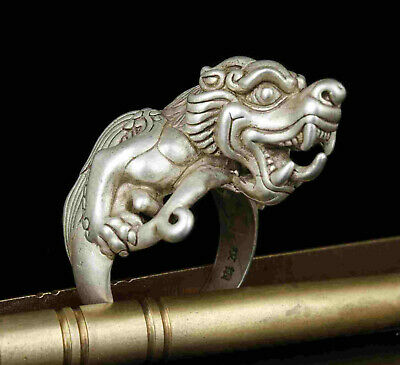 Collect Rarity China Hand-Carved Precious Tibetan Silver Ring PI Xiu Statue 5