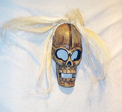 Di legno teschio maschera,bianco capelli,27 cm alto Equo e solidale Commercio