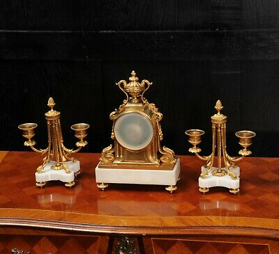 Ormolu and Marble Boudoir Antique French Clock Set by Vincenti C1860 9