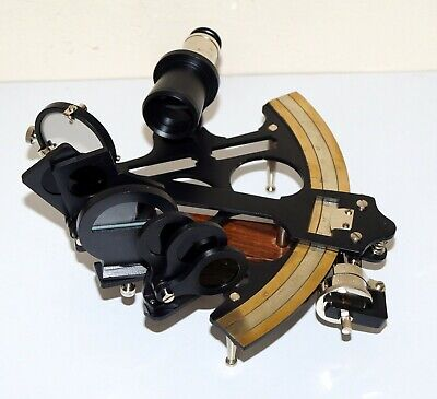 """Nautical vintage brass sextant 8"""" marine ship working instruments in wooden box 6"""