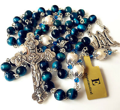 Peacock Blue Tiger Eye Bead /& 10mm Real Pear Rosary crucifix catholic necklace