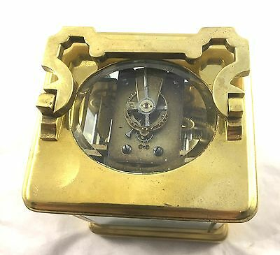Large Brass Carriage Clock Striking on Gong By Alstons & Hallam 69 Cornhill 7