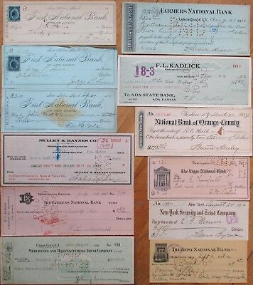 Antique Checks, 100+ DIFFERENT QUALITY- ALL Pictured, Most 1870-1910, All Issued 8
